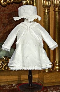 Little girl's cotton and lace dress, hat and cardigan