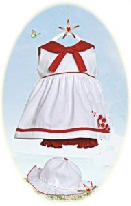 Baby girls sailor style dress, hat and bloomers