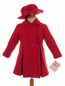 Girl's coat, dress and hat