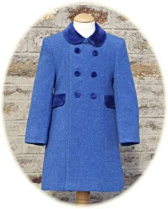 Child's 100% wool coat in bright blue