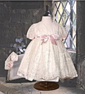 Little girl's silk and lace dress and headband