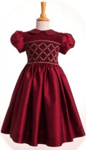 Child's smocked silk party dress