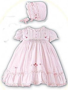 Smocked baby dress and bonnet from Sarah Louise