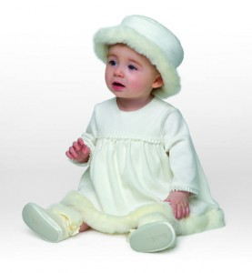 Baby's fur trimmed dress and hat