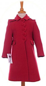 Girl's 100% wool coat in red with hood
