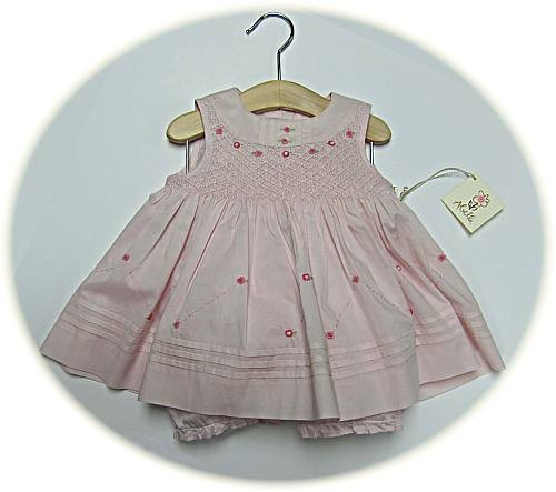 Baby's smocked dresses and bloomers in 100% cotton