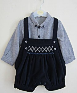 Baby boy's smocked dungarees