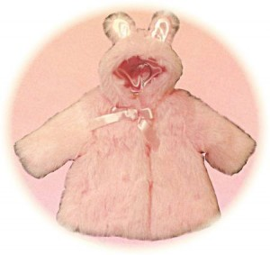 Baby's fur coat with bunny ears.