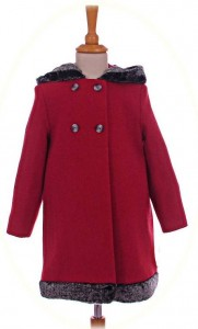 Red girl's coat with fur-trimmed hood