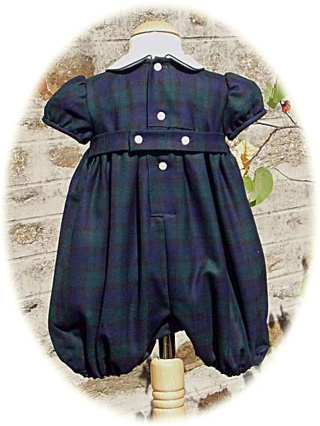 Baby Boy S Tartan Romper Suit In Warm Wool With Smocking