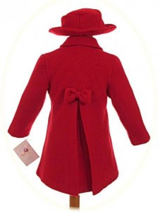 Girl's coat, dress and hat back view