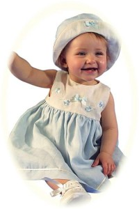 Baby's linen dress and hat