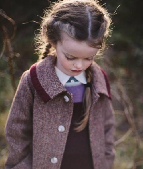 Girl's Donegal tweed coat