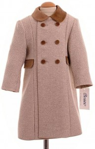 Child's traditional coat in camel check