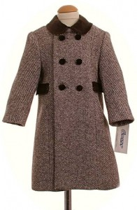 Childs traditional coat in chocolate check