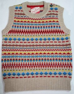 Child's fairisle tank top natural front