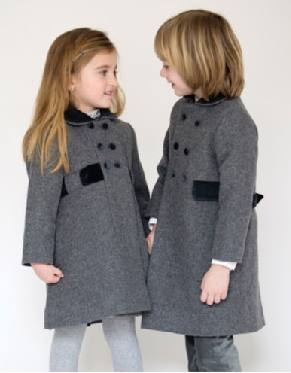 b66af206eb64 Child s classic wool winter coat with velvet trim for a little girl ...