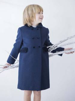 Child's wool coat in navy blue