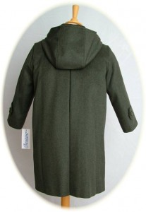 Child's traditional green Loden coat back view