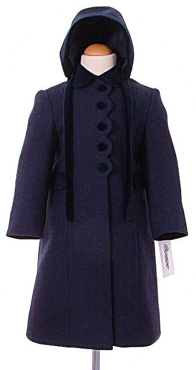 c8fb15f7938a Girl s traditional winter coats with hood. In100% wool with velvet trim.