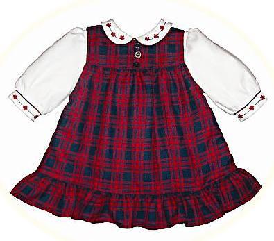 3ec45ff9e26a Babies' winter dresses. A tartan pinafore dress and long sleeved blouse.