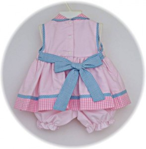 Baby girl's summer dress and bloomers back view