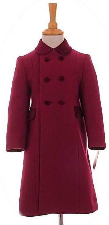 Traditional Children S Coats In 100 Wool With Velvet