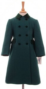 Child's 100% wool coat in green