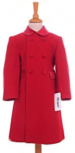 Child's 100% wool coat in red