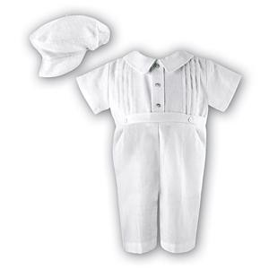 Baby boy's white romper and cap