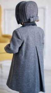 Girl S Classic Coat And Bonnet In 100 Wool With Velvet