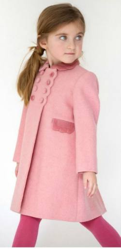 04f1c463 Girl's classic coat and bonnet, in 100% wool with velvet trim. .